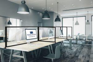 Desktop Sneeze Guard Perspex – Freestanding with 2 Returns for Workstation Pods