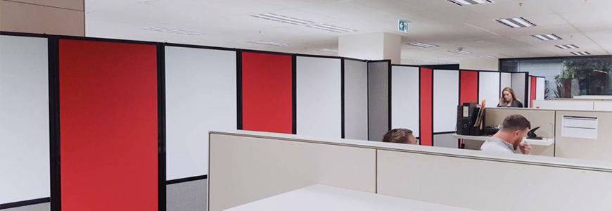Room Divider 360, multi-colour red, grey, white, used in John Holland offices, Sydney