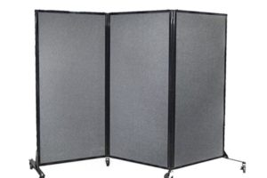 Folding mobile grey fabric privacy screen on wheels