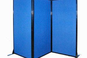 folding blue fabric privacy screen on feet