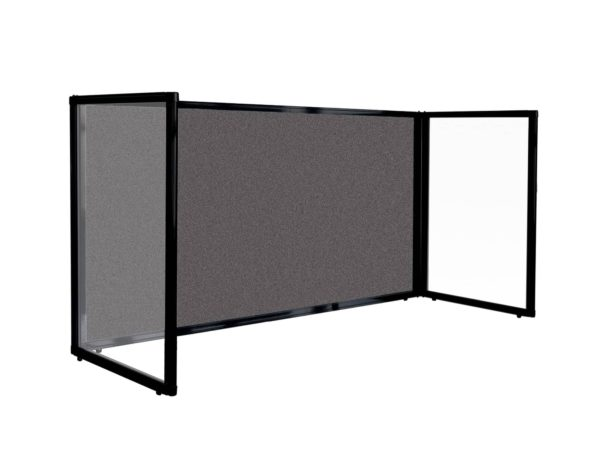 Charcoal Fabric Desktop Protections Screen 3 panel freestanding